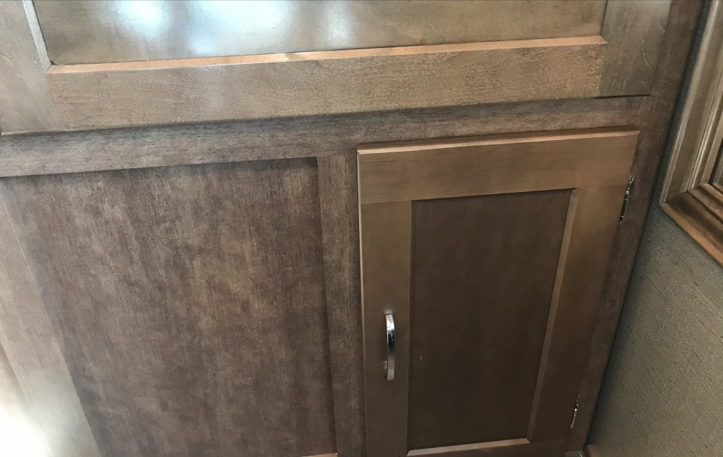 Finished cabinet door over mystery space.